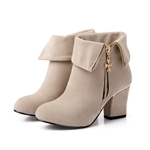 Low top AmoonyFashion Solid Round High Beige Frosted Heels Boots Women's Closed Toe SFOn01aS