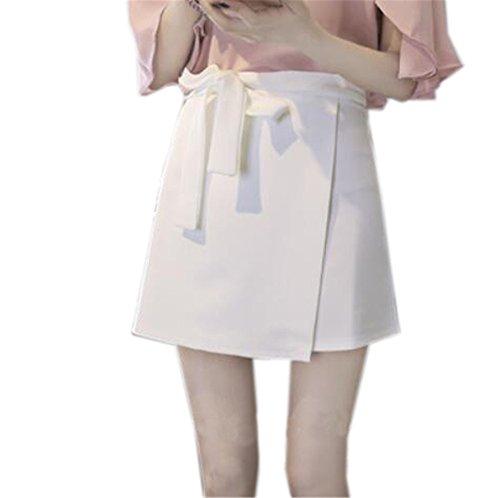 Aoliait Femme Jupe A-Line Amincissante Jupe Court Couleur Unie Femelle Jupe en t Grande Taille Jupe Mini Taille Haute Jupe White2