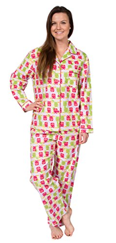 Leisureland Women's Cotton Flannel Sleep Pajama Sets Hope Faith Love Owl Small (Owl Yours Pajamas)