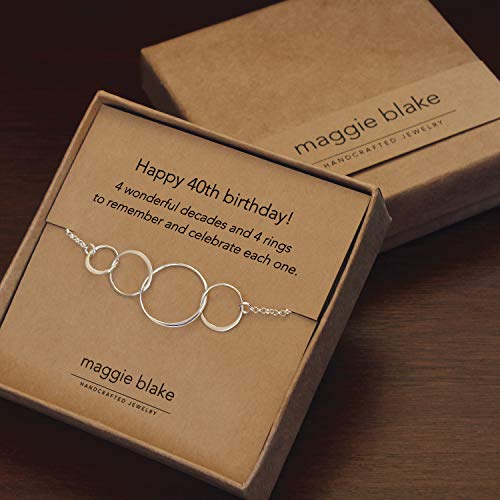 40th Birthday gifts for Women, 4 ring Sterling silver necklace
