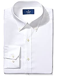 Buttoned Down Men's Non-Iron Fitted Pinpoint Button Collar Dress Shirt