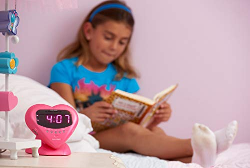 Sonic Alert Sonic Bomb Extra Loud Heart Alarm Clock with Bed Shaker Vibrator. for Heavy Sleepers, Teenagers, People with Hearing Loss, Seniors, and The Deaf - Sonic Boom Metallic Pink - SBH400SSP
