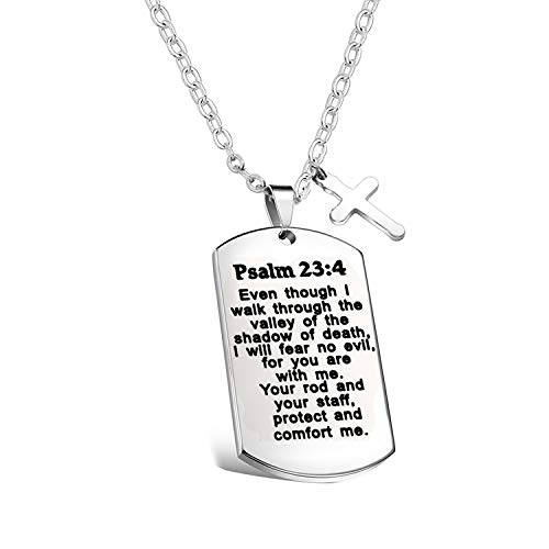 - FUSTYLE Psalm 23:4 Bible Verse Dog Tag Keyring/Necklace Christian Jewelry Religious Inspirational Gift (Necklace)