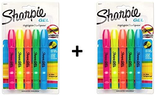 Sharpie 1803277 Gel Highlighter, Assorted Colors, 5 per Set, 2 Sets, total 10 count ()
