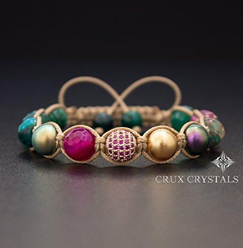 - Lavish Love, Gemstone Macrame Bracelet, Women's Shamballa Bracelet, Wrap Bracelet, Beaded Friendship Bracelet, Swarovski Bracelet, Swarovski Pearls, Crux Crystals