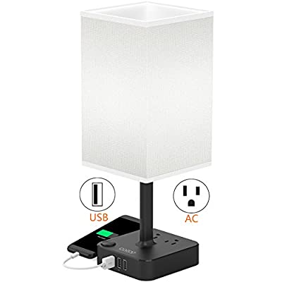 COZOO USB Bedside Table & Desk Lamp with 3 USB Charging Ports and 2 Outlets Power Strip,Black Charger Base with White Fabric Shade, LED Light for Bedroom/Nightstand / Living Room
