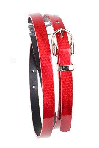 Skinny Polished Snakeskin Faux Leather Metal Buckle (Skinny Snake Belt)