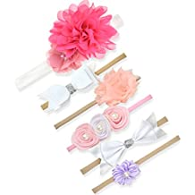 BQUBO Baby Rubber Headbands Hand Sewing Beads Flower Hair Bands, 2/3/4/6 Pack