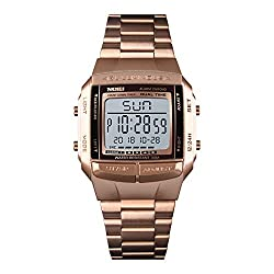 Rectangular Dial Dual-time Luminous Calendar Stopwatch 12h/24h LED Digital Wrist Watches Stainless Steel Strap Sport Men Boys Watches, Rose Gold