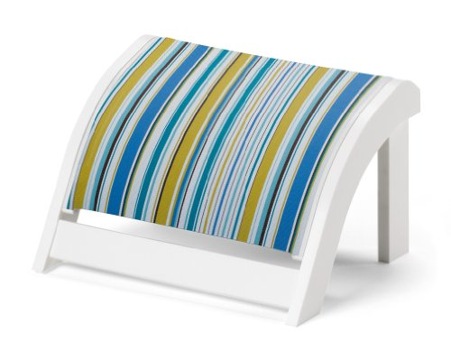 Telescope Casual Adirondack MGP Sling Ottoman, Textured Snow Finish with Coastline Stripe Sling Fabric