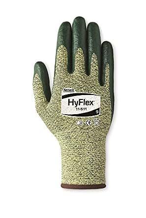Ansell HyFlex 11-511 Kevlar Glove, Cut Resistant, Green Foam Nitrile Coating, Knit Wrist Cuff, X-Small, Size 6 (Pack of 12)