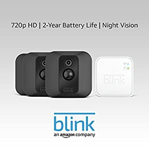 Blink XT Home Security Camera System with Motion Detection, Wall Mount, HD Video, 2-Year Battery Life and Cloud Storage Included - 3-Camera Kit