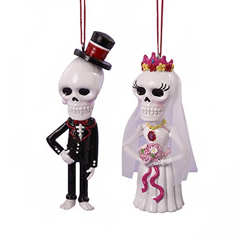 Kurt Adler Day Of The Dead Skull Bride And Groom Hanging Ornaments -