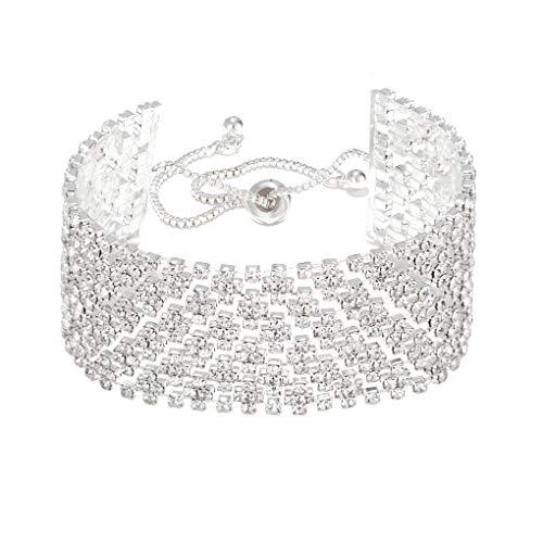 Christmas Bracelet Rhinestone white crystal Bracelet Adjustable link Bracelet Bangle silver plated Wedding Bridal Jewelry for Women Girls Gift for Birthday Party everyday wear (white) ...