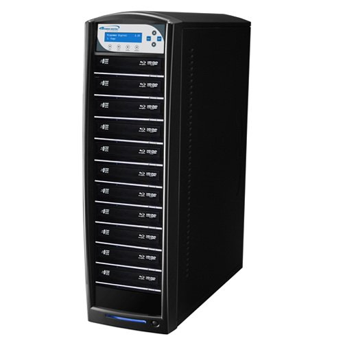SharkBlu Blu-Ray / DVD / CD Duplicator with 500GB HDD + USB 3.0 + CopyConnect - 11 Target 15x Blu-Ray Burner - Pioneer