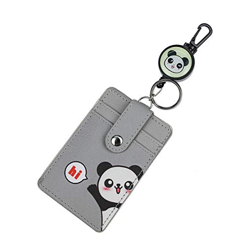 HASFINE Cute ID Badge Holder Retractable Reel Clip with Heavy Duty Carabiner and Key Ring 3 Card Holder Case Wallet for Girls Teens Women