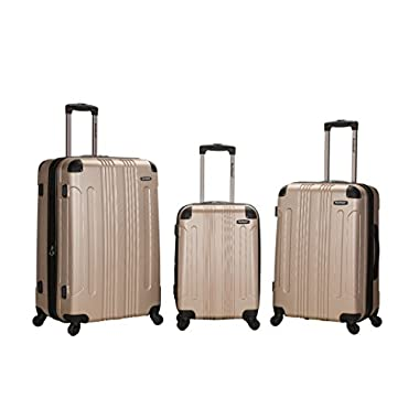 Rockland Luggage 3 Piece Abs Upright Luggage Set, Champagne, Medium