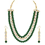 Product review for Aheli Indian Wedding Wear Faux Kundan Beaded 3 Layered Necklace Set Ethnic Fashion Jewelry for Women