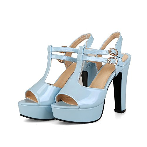 Womens Chunky Urethane 1TO9 Buckles MJS02557 Sandals Metal Heels Blue Platform Heeled dHx55q