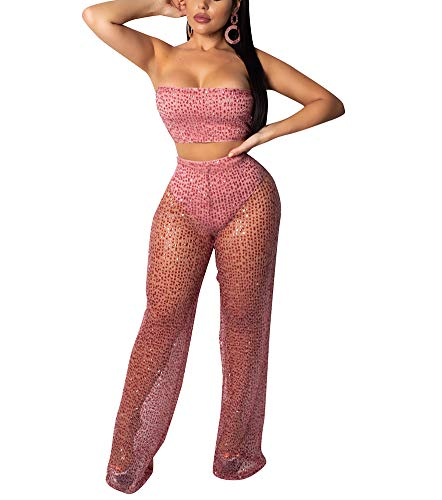 Outfit Piece 2 Pink (Womens Sexy 2 Piece Outfits Sets Wide Leg Off Shoulder Jumpsuit Bandeau Top Flared Trousers Pants)