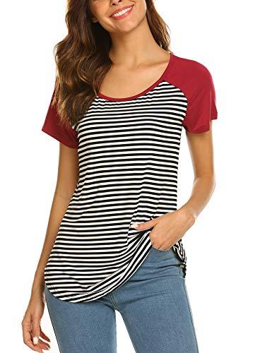 78480477e03404 SUNAELIA Women's Striped Raglan Baseball Tee Round Neck Short Sleeve Summer  Tshirt Tops