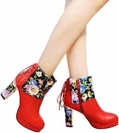 46318ac4b8b Memela Women s Lace-Up Shoes Side Zipper Short Boots Printed High Heel  Ankle Booties