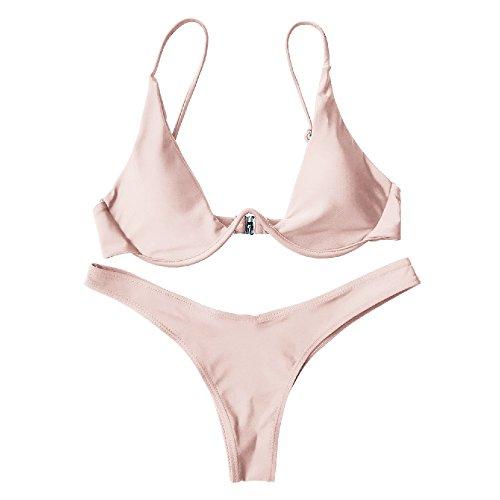Bagno Costume Schienale Due Costumi Donne Da Unita Womens Rosa Bikini Set Per Senza Pezzi Tinta awWYSq