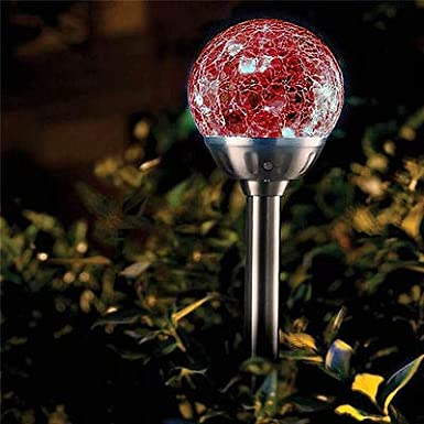 6 Lights Y-H Yorkshire Homeware Stainless Steel Solar Powered Colour Changing LED Crackle Glass Ball Solar Garden Stake Lights