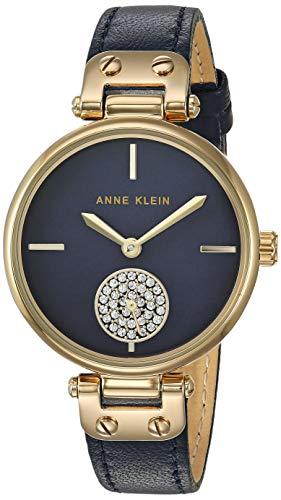 Anne Klein Women's Swarovski Crystal Accented Gold-Tone and Navy Blue Leather Strap Watch, AK/3380NMNV (Navy Leather Watch Strap)
