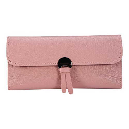 Women Wallet, 3Colors Women Long PU Leather Trifold Wallet Purse Pouch Clutch Card Money Holder(Pink)