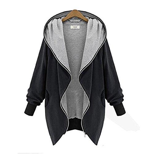 AMA(TM) Women Windbreaker Parka Outwear Cardigan Zipper Hoodie Jacket Coat (XL, Black)