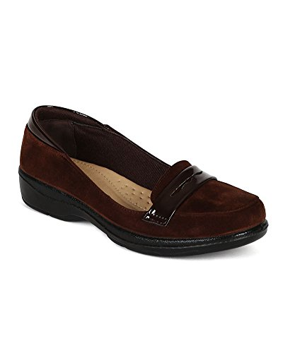 Cushioned Slip On Work Low Heel Loafer Flat CJ54 - Brown (Size: 8.0) ()