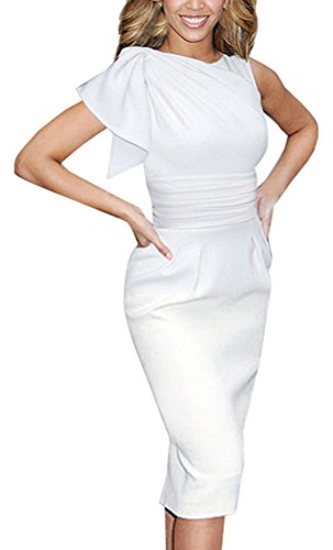 HOMEYEE Women's Elegant Vintage Wedding Sleeveless White Dress B311 (S, White)