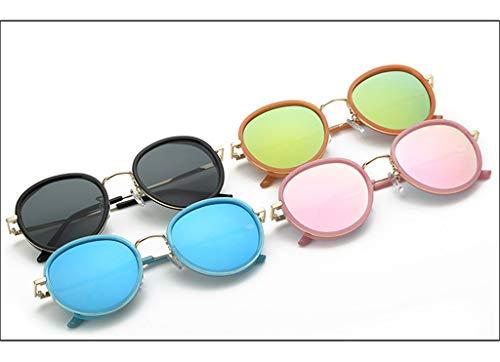 Lunettes Soleil Soleil Lunettes Round Mode Retro Demi New de Lunettes métal Blue de Frame de tqOpTnwaX