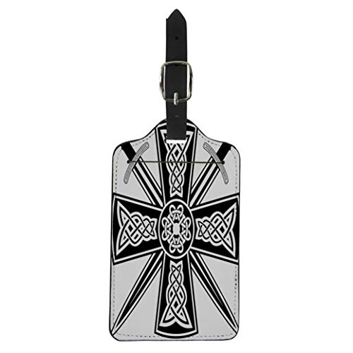 Pinbeam Luggage Tag Pagan Celtic Cross the Crossed Swords Knot Medieval Suitcase Baggage Label