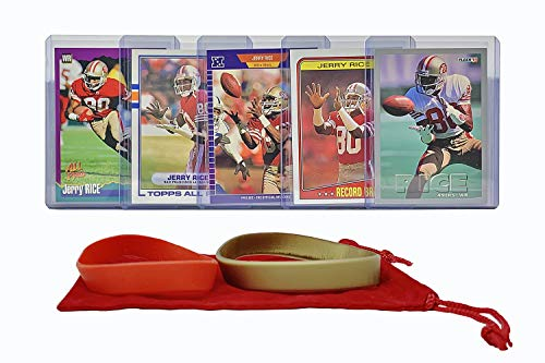 Jerry Rice Football Cards (5) Assorted Bundle - San Francisco 49ers Trading Card Gift Set - Jerry Rice Football Player