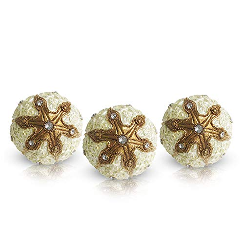 Decorative Orb Set, 3 Piece - Gold and White Balls with Jewel Studs, for Centerpiece Bowls, Living Room and Home Decor