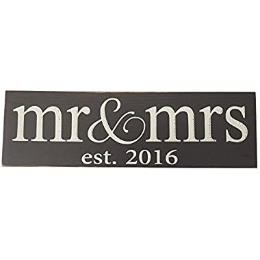 Mr & Mrs est 2016 Wood Sign (Gray - Small - Lowercase)
