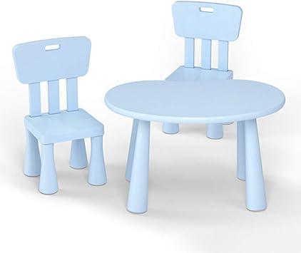 CTC Mesa Y Silla de Estudio para Niños - Mesa de Juguete para el Hogar Del Bebé,Mesa de Plástico para Jardín de Infantes Protección Del Medio Ambiente Pp/azul/Una mesa y dos sillas.: