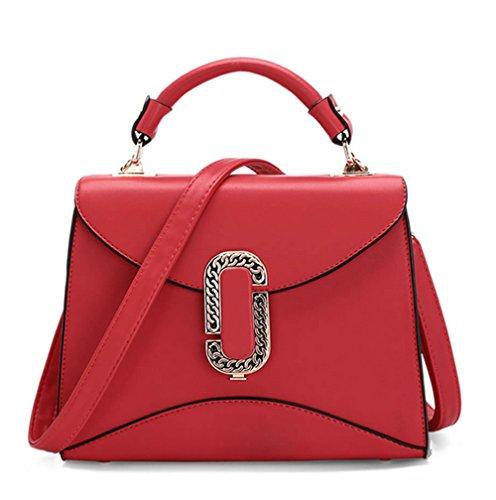 Bolsos de señora Xinmaoyuan Pu Color simple Simple de sección transversal pequeña hebilla Bolso Messenger Bag Mini Bolsa de hombro,rojo Rojo