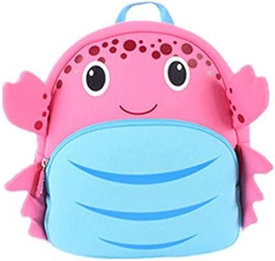 Resistente al agua mochila bebé mochila bolso de escuela niños mochila infantil neopreno duradero de la mochila 3d Cartoon Cangrejo rosa rosa