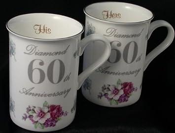 Diamond 60th Wedding Anniversary Gift Pair Of Mugs