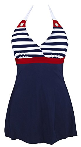 Gigileer Womens Vintage Sailor Push Up Halter Neck One Piece Cover Up Dress Swimwear 410trsqwPWL