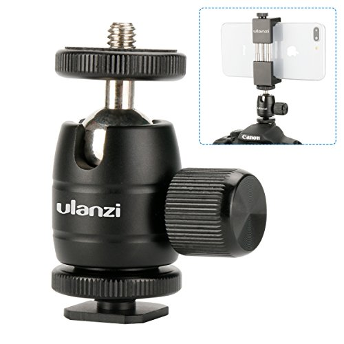 Ulanzi Aluminium 1/4 Mini BallHead + Hot Shoe Mount Adapter For DSLR Camera like Canon,Nikon,Sony/Camcorder/iPhone 8 7 Plus Gopro Video Light Flash LCD Monitor Tripod Monopod