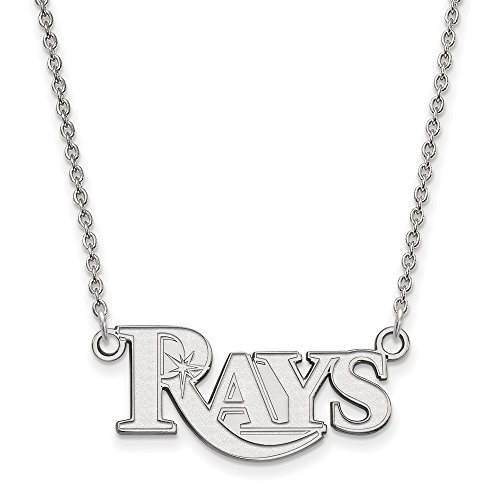 Roy Rose Jewelry 14K White Gold MLB LogoArt Tampa Bay Rays Small Pendant ()