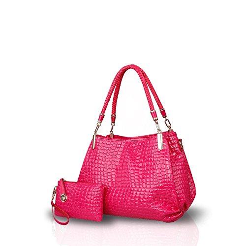 Nicole&Doris Nuevo grano del cocodrilo de la PU mujeres del cuero / de las señoras bolso bolso de Crossbody del bolso de totalizadores grande Negro Rosa roja