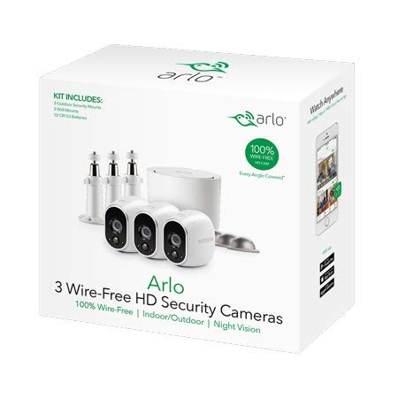 Arlo VMS3330W Security Camera System - 3 Wire-Free HD Security Camera Bundle with 3 Additional Wall Mounts and 3 Outdoor Mounts Plus 3 Free Months of Cloud Service