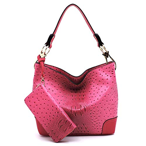 (2 PC Set Ostrich Croco Embossed Vegan Faux Leather Hobo Shoulder Bag Classic Bucket Purse with Matching Wallet (FUCHSIA))