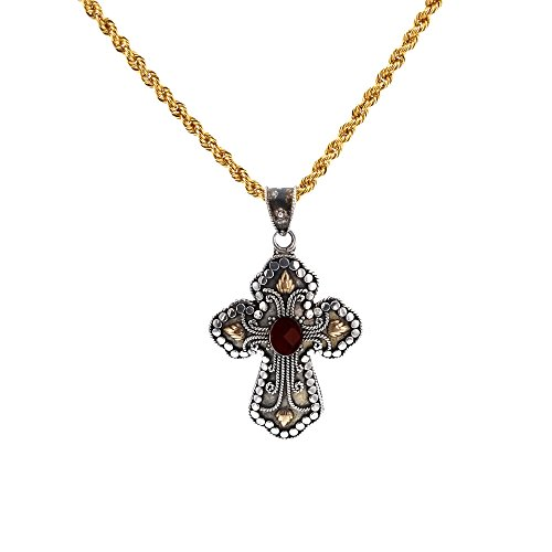 Silver Cross, Vintage Sterling Silver Two tone Garnet Cross & Rope Chain (Stainless Yellow 18