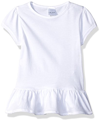 Clementine Toddler Kids Ruffle Fine Jersey T-Shirt Dress, White, (Girls Fine Fit Tee)